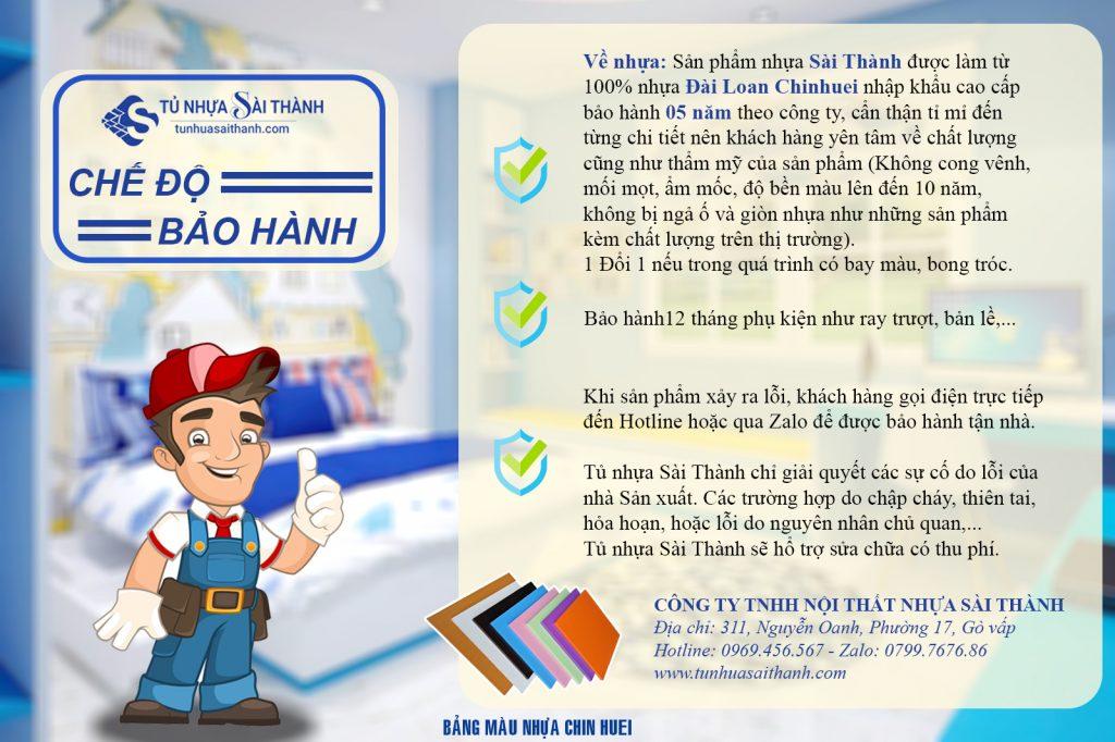 Chế độ bảo hành tủ nhựa đài loan