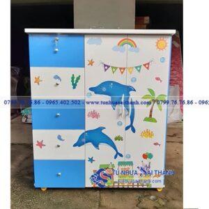 Hình 1. Tủ nhựa trẻ em Đài Loan thiết kế chắc chắn, họa tiết sinh động